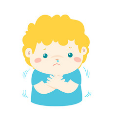 Little boy with a cold shivering cartoon vector