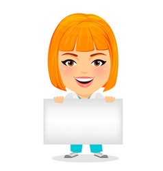Medical doctor woman with blank sign funny vector