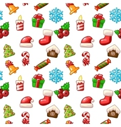 Merry christmas seamless pattern set icons on vector