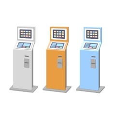 Payment terminals set isolated stationary kiosk vector