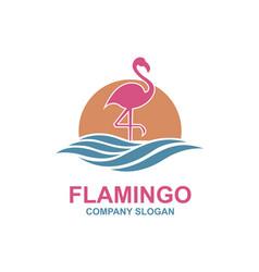 Pink flamingo emblem vector
