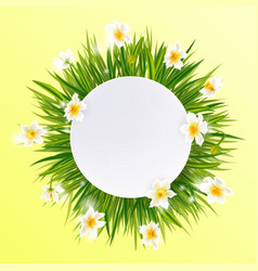 Round natural frame with grass and flowers vector