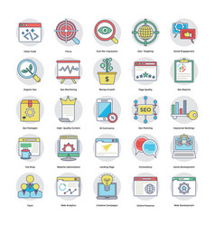 set of digital and internet marketing flat vector image