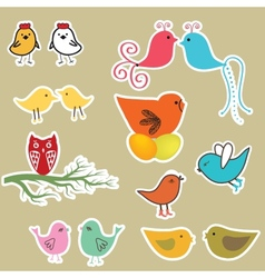 Set of valentines cards with birds vector image vector image