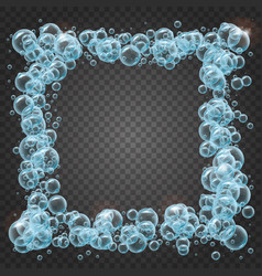 Shampoo frame of realistic water bubbles vector