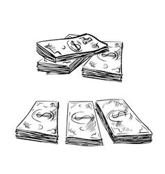 Sketch of dollar bills stacks vector