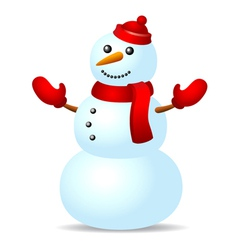 Snowman in red hat vector image