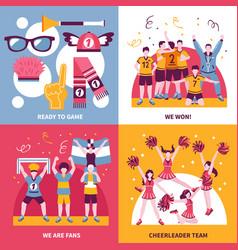sport fans cheerleaders isometric concept vector image vector image