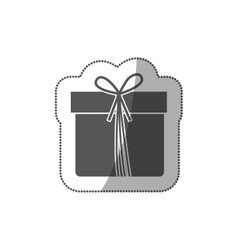 Sticker grayscale silhouette with giftbox with vector