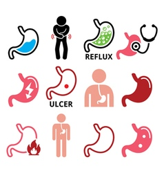 Stomach disease- reflux ulcer icons set vector