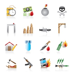 terrorism and gangster equipment icons vector image vector image