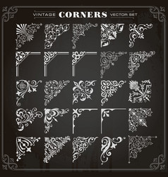 vintage design elements corners and borders set 1 vector image vector image