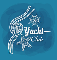 White lettering yacht club rope vector