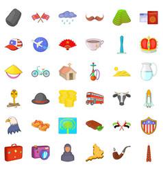 World landmark icons set cartoon style vector