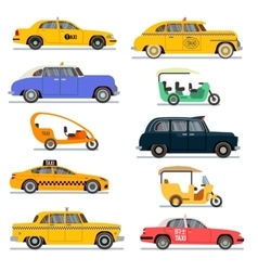 World famous taxi cars set vector