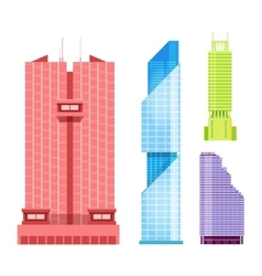 Skyscrapers icons set in detailed flat style vector