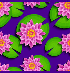 Bright seamless pattern with pink lotus and leaf vector