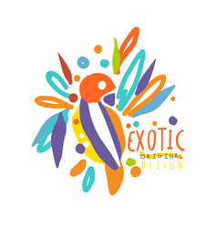 exotic logo original design with colorful bird vector image