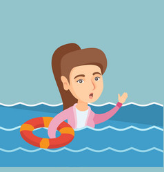 Young business woman sinking and asking for help vector