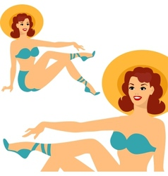 Beautiful pin up girl 1950s style in swimsuit vector