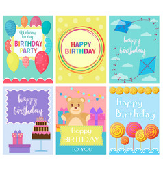 Happy birthday collection set of invitation cards vector