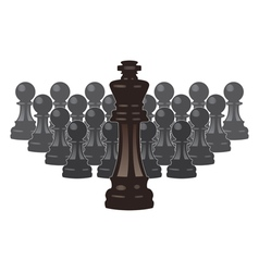 Chess pieces of a king and pawns vector