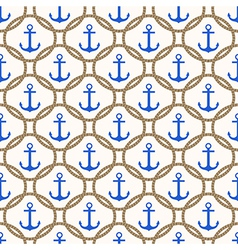 Seamless nautical pattern with blue anchors vector