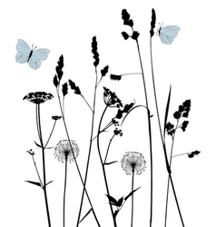 Traced graphic elements weeds and butterflies vector