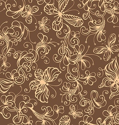 Seamless duotone floral background vector