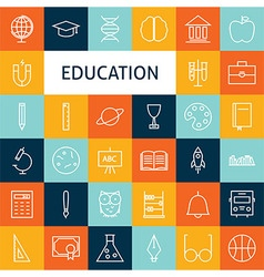 Flat line art modern school and education icons vector