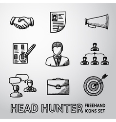 Set of handdrawn head hunter icons - handshake vector