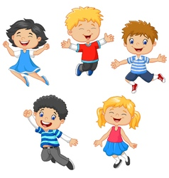 Children jumping together vector