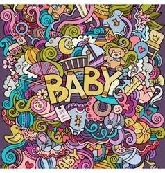 Cartoon hand drawn doodle baby vector