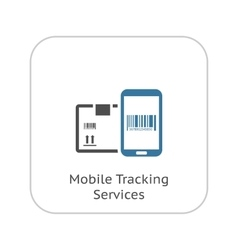 Mobile Tracking Services Icon Flat Design vector image