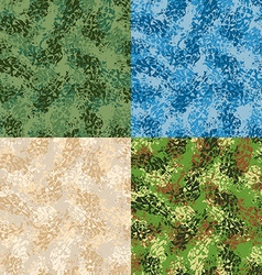 Military seamless pattern set army texture vector