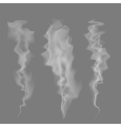 Smoke setd delicate white cigarette smoke waves vector
