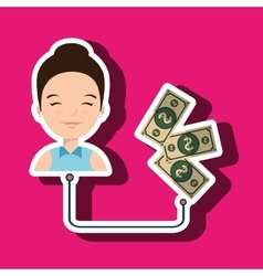 Woman with bills isolated icon design vector