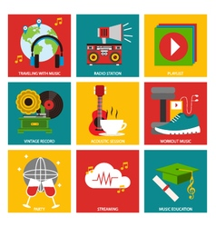 Music nine flat item collection vector