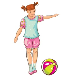 Sketch of girl with ball vector