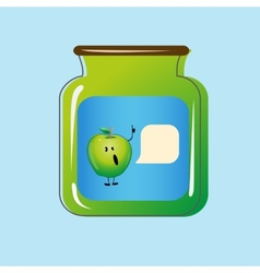 Bank with home canned apples design vector