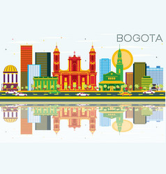 Bogota colombia skyline with color buildings blue vector