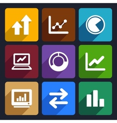 Business Infographic flat icons set 34 vector image