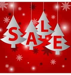 Christmas sale on red background vector image