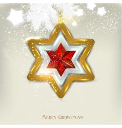 Christmas Star Card Template vector image