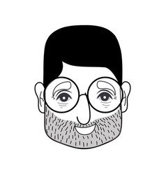 Contour old man face with glasses and hairstyle vector