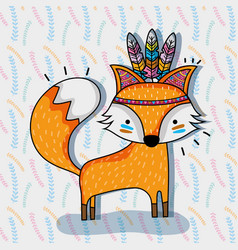 cute fox animal tribal and feathers vector image