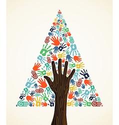 Diversity Christmas pine Tree hands vector image