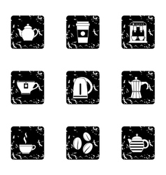Drink icons set grunge style vector