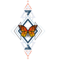 Geometric pattern with monarch butterflies vector