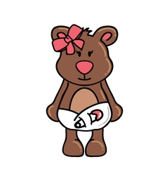 Girl bear wearing diapers vector